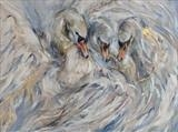 Children of Lir by Maggie Moore, Painting, Oil on canvas