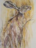 Hare in Corn by Maggie Moore, Painting, Oil on Board