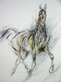 He trots the air... by Maggie Moore, Painting, Mixed Media