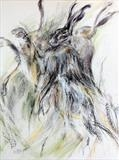 Rearing Hare by Maggie Moore, Painting, Mixed Media