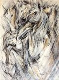 Rearing Horse by Maggie Moore, Painting, Mixed Media