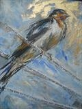 Swallow Icon II by Maggie Moore, Painting, Mixed Media